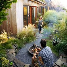 "landscape designer Brandon Peterson planted a garden full of meadowlike grasses. ""It's a perfect place to relax with friends—or a sketchboo..."