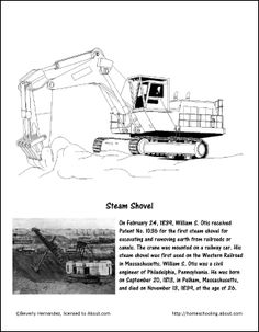 Steam Shovel color page -- to use with Mike Mulligan