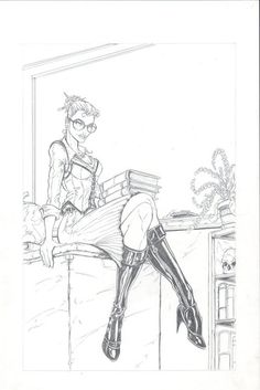Sexy Teacher Sitting on Desk by jamietyndall.deviantart.com