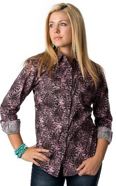 Wrangler Women's Black and Pink Charcoal Flower Print Long Sleeve Western Shirt