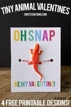 Oh Snap crocodile toy valentine printable- just add a toy! 4 Valentines perfect for boys!