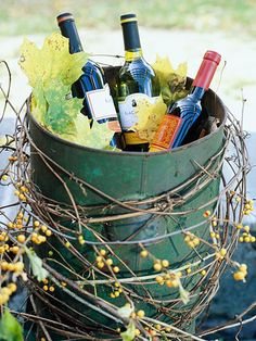 Stylish fall wine cooler. Bittersweet vine seems to be a theme this year. Better get yours!