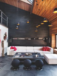 loft-living-room. | Karakoy Loft Uses Rich Wood Features and Creative Industrial Elements | home-designing