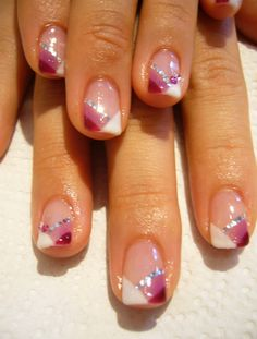 unique! #pink #purple #white French #tip #mani #pretty #sexy #nail #polis #tip #beauty