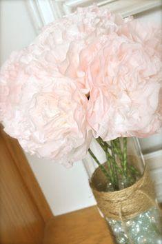 custom dyed coffee filter flowers--look like spring peonies!