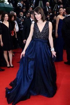 Milla Jovoich in a midnight blue Armani Cannes 2013