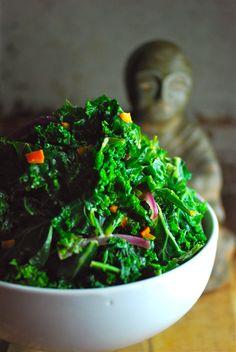 vegan kale salad - coconut lime dressing