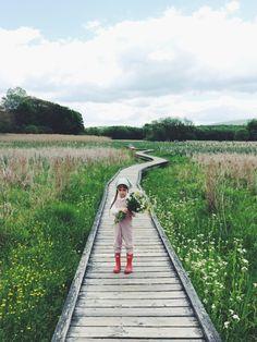 Little Lief Overalls, hunter boots, kerchief. By Kirsten Rickert