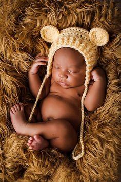 Crochet pattern for Ribbed Baby Bear Bonnet by Crochet by Jennifer