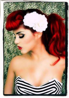 Rockabilly Hair:: Retro Hair and Makeup:: Rockabilly Girl::: White flower Accessory
