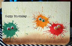 Some crafty goodness... monster card, card board, craft, birthday card ideas, card design, art, monsters, cards, kid