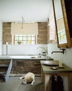 Rustic + wood + stone bathroom