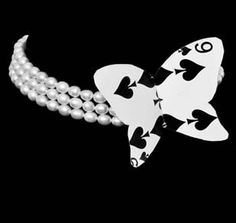 ChaCha choker   Pearls and playing card  $299.00 AUD