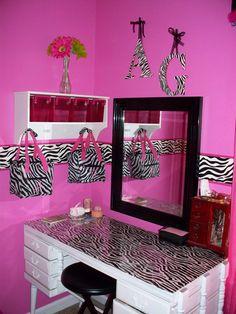 girl room, zebra print bedroom decor, pink zebra room, zebra print bedrooms, bedroom sets, girl bedrooms, desk, bedroom curtains, zebra bedroom