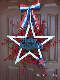 diy crafts, blue, juli wreath, fourth of july, star, high wire, door, 4th of july, pallet flag