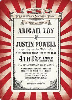 Striped circus-themed wedding invitation