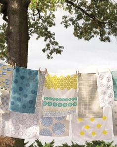 block printing with everyday objects- using this idea for family room curtains