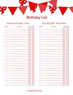 FREE Printable Birthday List {save 500ff Birthday Gifts in 2014!}