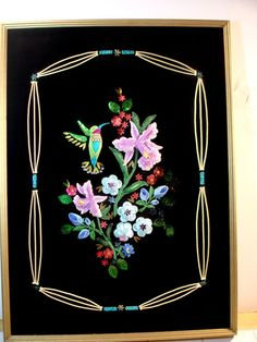 Vintage Crewel ? Applique Sequined Hummingbird Floral Picture on Black Velvet