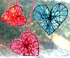 Yarn Valentine Hearts. i like this... valentine crafts, heart crafts, yarn crafts, valentine day crafts, dream catchers, valentine decorations, string art, craft ideas, kid crafts