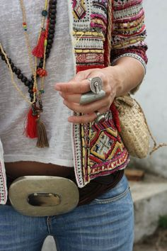 Chunky modern hippie belt buckle with gypsy layered tassel necklaces and boho chic chunky rings. FOLLOW this board > http://www.pinterest.com/happygolicky/the-best-boho-chic-fashion-bohemian-jewelry-gypsy-/ for the BEST Bohemian fashion trends for 2015.