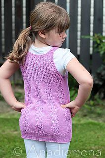 Zephyrus  12 months to 14 years The vest is knit seamlessly from the top down and features elegant Butterfly Lace as an allover lace pattern for the top portion of the vest; then the lace gracefully transitions into the beautiful Butterfly Kisses lace panels.
