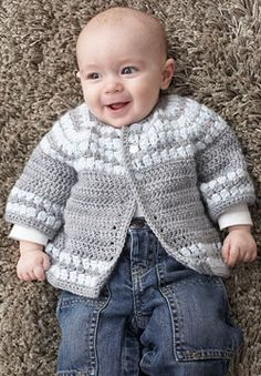 "been looking for boys outfits to crochet....this could easily become a boy sweater - Free pattern for this darling ""Cluster Yoke Baby Cardigan""!"