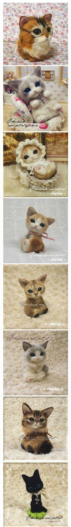 Felt cloth cat models
