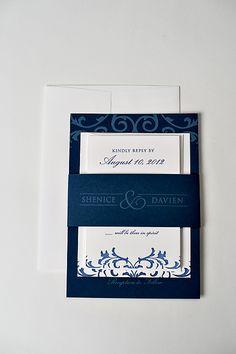 Navy and white wedding invitation, navy and white wedding, letterpress wedding invitation, belly band