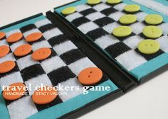 Another craft using a DVD case...Travel Checkerboard using buttons!