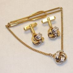 Swank Tie Clip Cuff Links Set Gold Silver Knot by SwaggerMan, $24.50