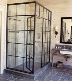 BATHROOM // steel casement windows shower