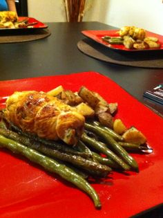 Chicken Rolled with Garlic, Cheese Parlsey. Green Beans and Potatoes.