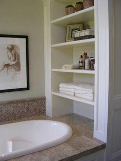baths, bathroom shelving, bathroom storage, master bathrooms, sink
