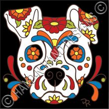 6x6 Tile Day of the Dead Dog Sugar Skull 7844A