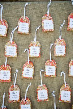 """tea bag"" escort cards, photo by Sarina Love Photography http://ruffledblog.com/hilton-san-diego-wedding #weddingideas #seatingchart"
