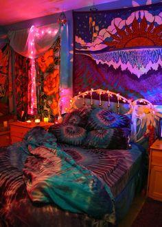 ♡ tie dye, hippie, dream, ties, bedrooms, sleeping rooms, bohemian interior, bed sheets, dyes