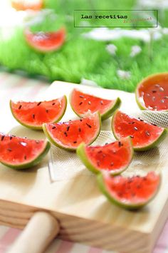 watermelon jello shots... Only I think these would be fun just to make like Jello Jigglers (minus the alcohol) for a kids party in the summer time! So cute.