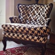 over sized houndstooth pattern, love this chair