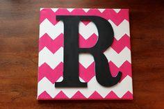 Single Monogram on Pink Chevron - Canvas