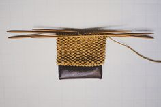 How to attach leather or another material to the bottom of your knitting.