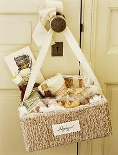 Welcome baskets for guest rooms could include wine, water bottles, fruit, chocolates, maps. (Or gift)