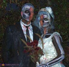 halloween costumes, brides, couple costumes, homemade costumes, scary halloween, costume halloween, grooms, dead bride, bride groom