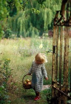 cute farm, little girls, little gardens, country girls, basket, children, old gates, apple pies, kid