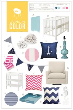 Nautical Nursery for a little girl - Navy, Aqua, Magenta, Pale Pink . This tots made me think of u