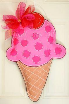 Happy Birthday Party Ice Cream Cone Burlap Door Hanger Decoration Polka Dot Celebration
