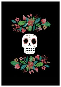 Day of the dead Art Print. Mexican. Floral. Skull. [ MexicanConnexionforTile.com ] #culture #Talavera #Mexican