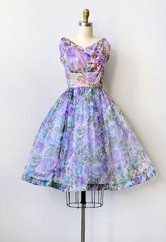 vintage 1950s purple floral sheer party dress [Flock of Violets Dress] - $128.00 : ADORED | VINTAGE, Vintage Clothing Online Store