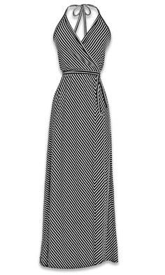 Halter Wrap Maxi Dress in Black and White Stripe #womens #fashion #maxi #dress