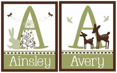 2 Personalized (Willow Deer and Bunny Meadow) 8x10 Matte Letter Name Prints. $15.98, via Etsy.